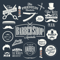 Set of vintage barber shop labels