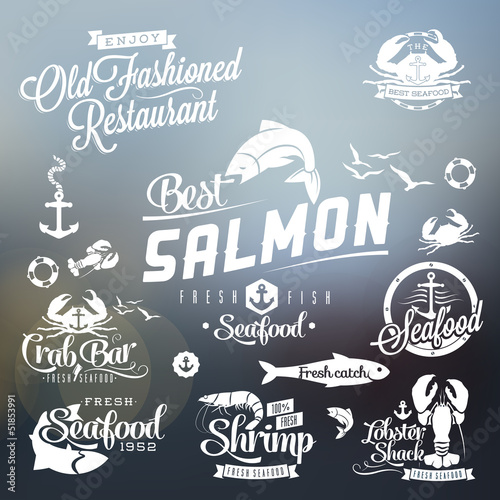 Seafood restaurant labels, badges and icons typography