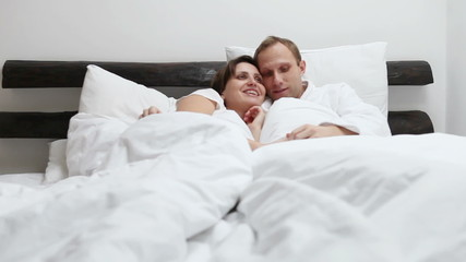 Sweet conversation in morning bed