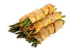 bunch of asparagus rolled with  puff pastry and speck