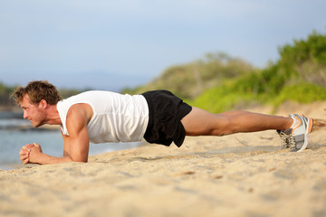 Crossfit training fitness man plank exercise