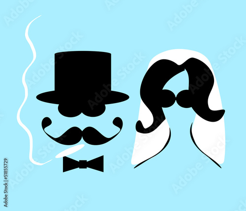 wedding couple with sunglasses smoking