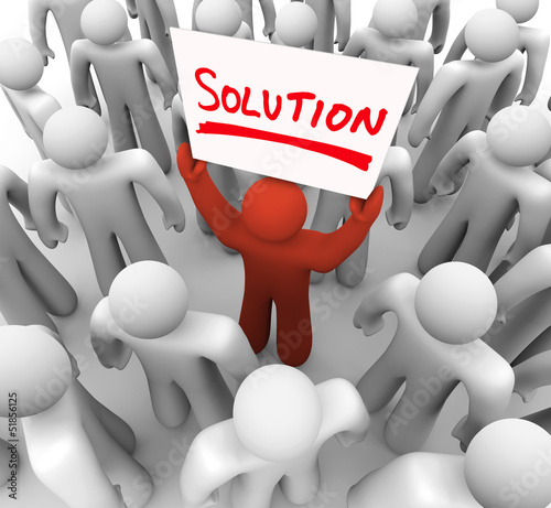 Solution Word Sign Man Holding Idea Sharing Problem FIx