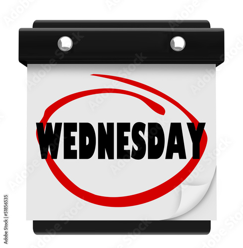 Wednesday Hump Day Wall Calencar Word Circled