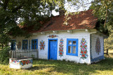 Hand decorated countryside house in Zalipie, Poland.