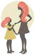 Beautiful mother silhouette with her daughter in retro style.