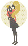 Beautiful mother silhouette with baby in a sling, retro illustra