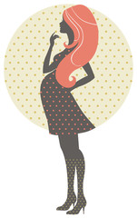 Silhouette of pregnant woman, retro illustration