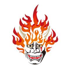 燃える般若の面