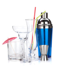 Cocktail shaker and glasses