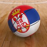Basket Ball with Serbian Flag