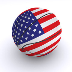 United States of America Basket Ball on White