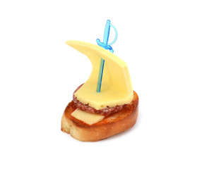 sandwich in the form of the ship on a white background
