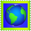 Globe on the postage stamp