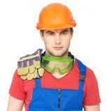portrait of serious worker in uniform