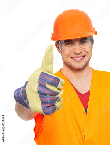 Portrait of craftsman with thumbs up sign
