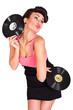 sexy Frau posiert mit Schallplatten