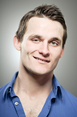 Caucasian Man Smug Smile Portrait
