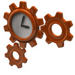 Orange clock and gears