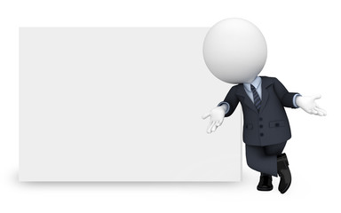 3d white people as business man standing with sign