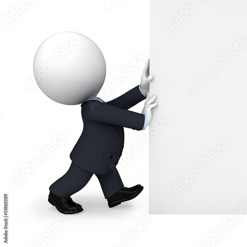 3d white people as business man pushing big white sign