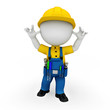 3d white people as plumber standing on white background
