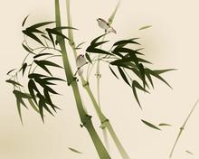 Peinture de style oriental, des branches de bambou