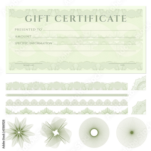Gift certificate (voucher) template with borders.  Guilloche