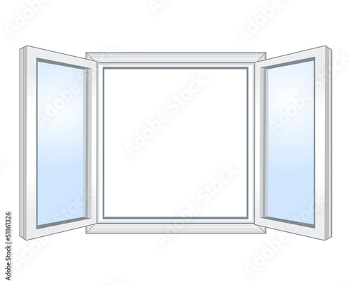 Wide open window,  vector illustration