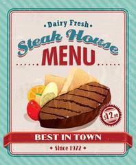 Vintage steak house BBQ poster design