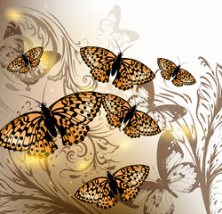 Background with vector butterflies for design