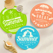 Summer vacation and travel labels and sea shells