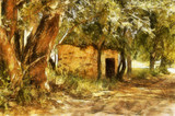 Painting of Rural African Brick Shack