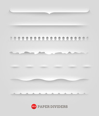 Vector set of paper decorative dividers