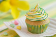 Yellow-green motive cupcake
