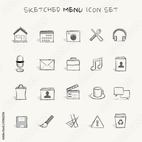 sketched menu icon set 2