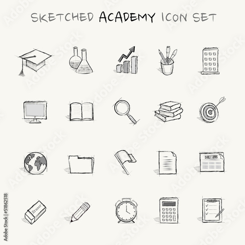 sketched academy icon set