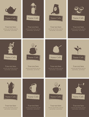 set of business cards on the topic of tea and coffee