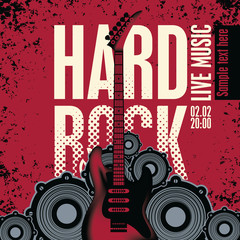 banner with an electric guitar speakers and the words Hard Rock