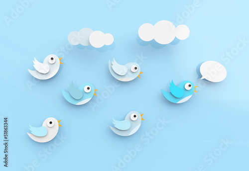 Cute twitter birds following each other.