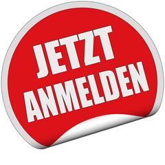 Sticker rot rund cu JETZT ANMELDEN