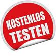Sticker rot rund cu KOSTENLOS TESTEN