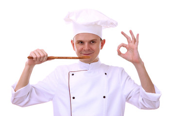 portrait of chef with spoon isolated on white