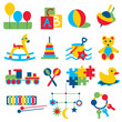 Colorful children toys icons