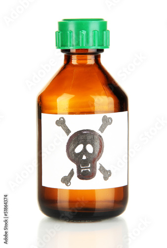 Deadly poison in bottle isolated on white