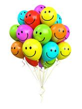 Kilka kolorowych balonów uśmiechnięte