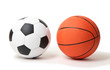 Basketball and football balls isolated on white