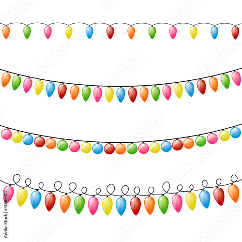 Vector Illustration of Colorful Holiday Lights