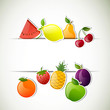 Vector Illustration of an Abstract Background with Glossy Fruits