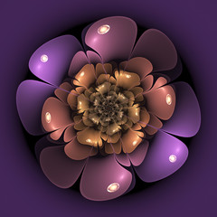 Smooth violet fractal flower, digital artwork